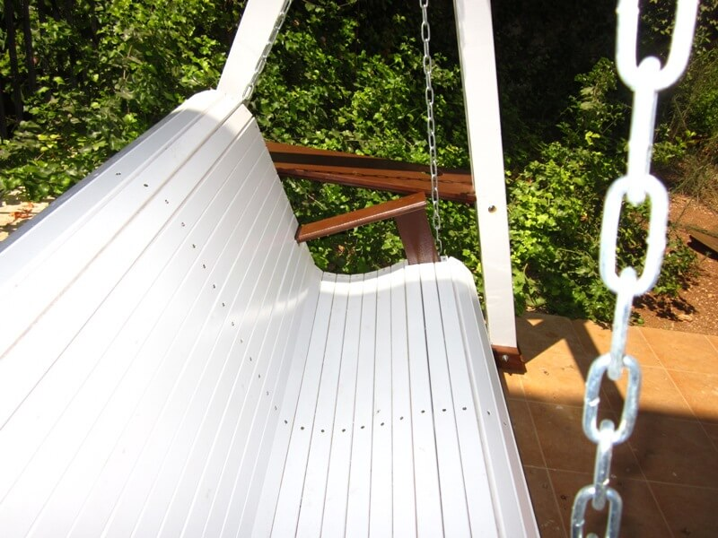 Custom built outdoor swing, painted in white and brown